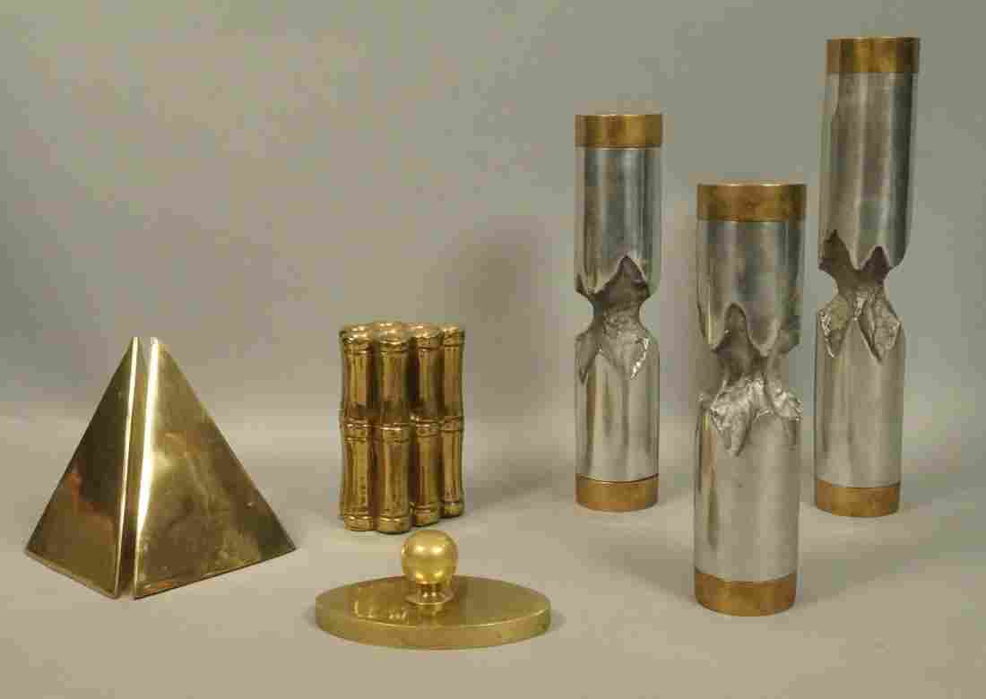 7 pc Modern Brass and Mixed Metal Table Lot. Bamb