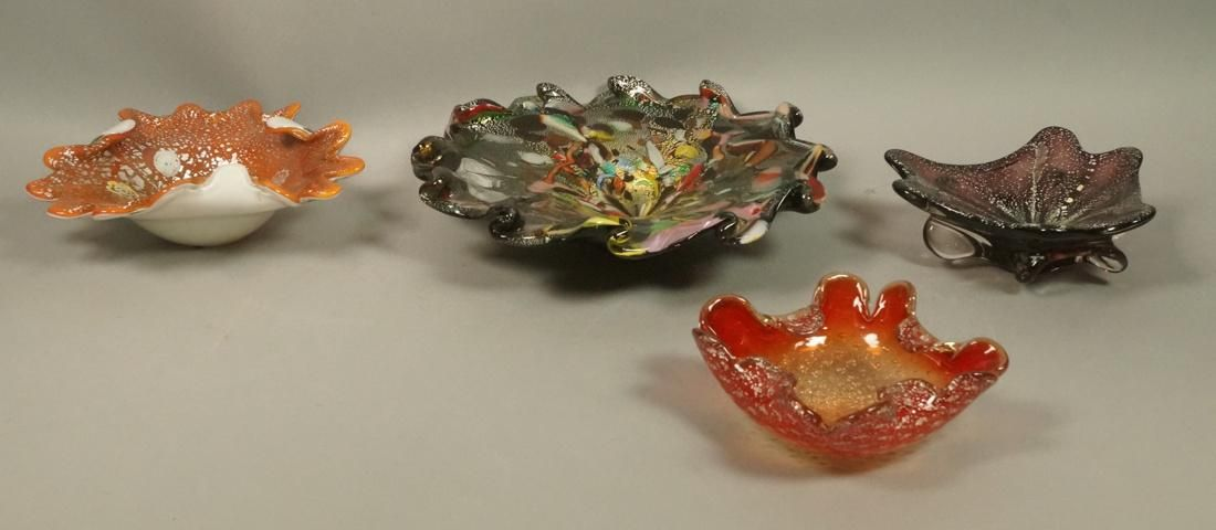 Lot 4 Vintage MURANO Art Glass  Bowls. All with s