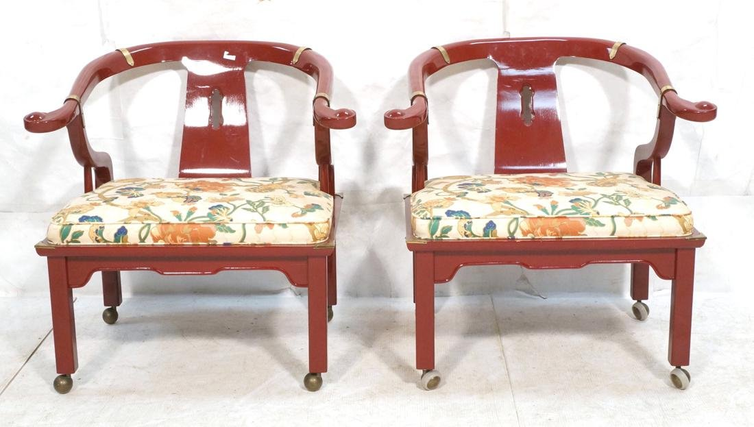 Pr CENTURY Burgundy Lacquer Asian Lounge Chairs.