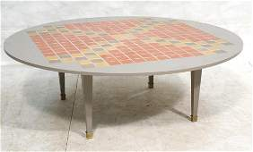 Round Tile Top Coffee Cocktail Table. Gray wood f