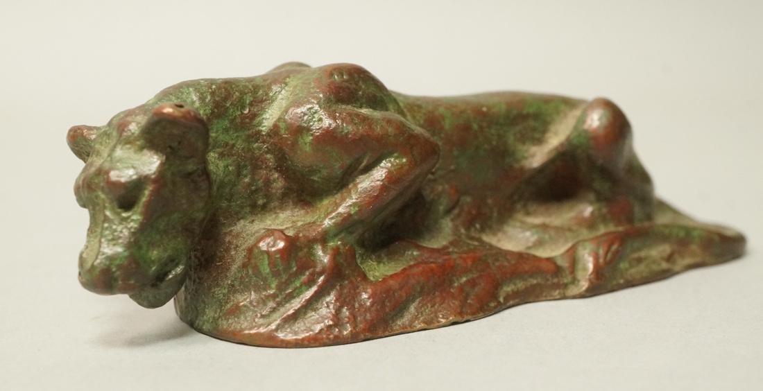 TIFFANY STUDIOS Bronze Cat Panther Figure. Dark b