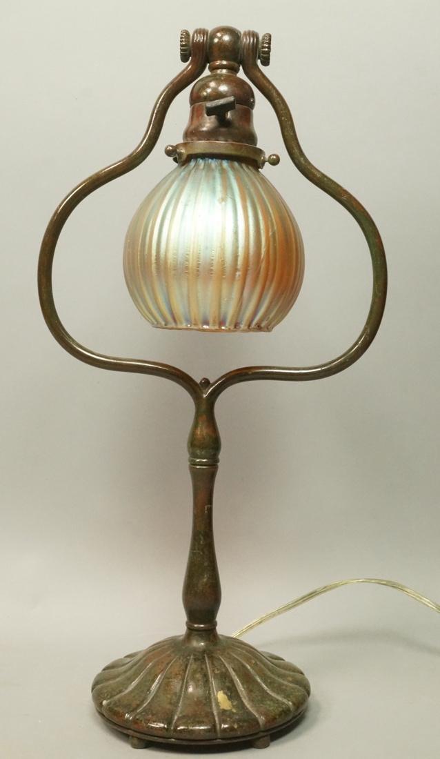 TIFFANY STUDIOS Bronze Favrile Table Piano Lamp.