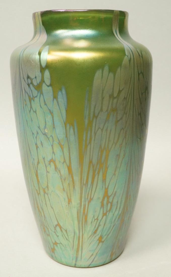 LOETZ Style Art Glass Vase. Iridescent green body