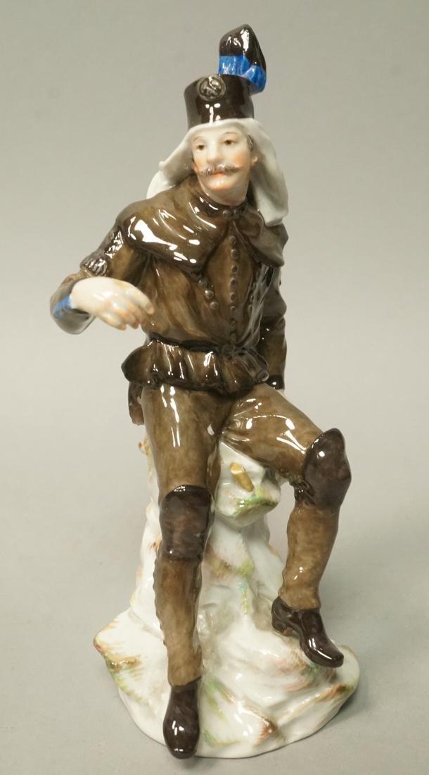 MEISSEN Figural Sculpture Soldier Military. Seate