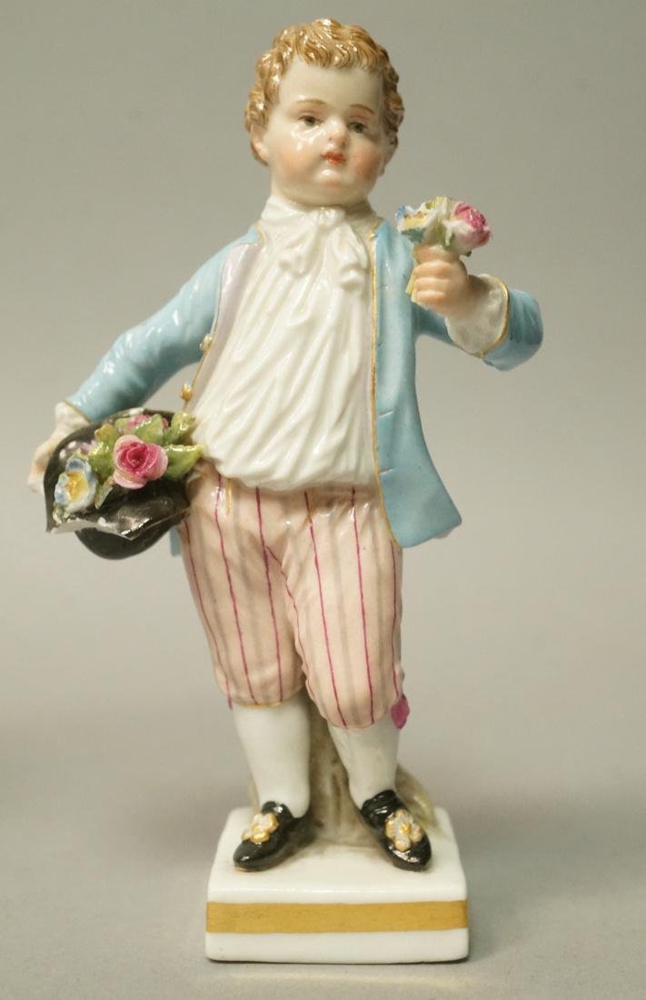 MEISSEN Small Porcelain Figure Boy with Flowers.
