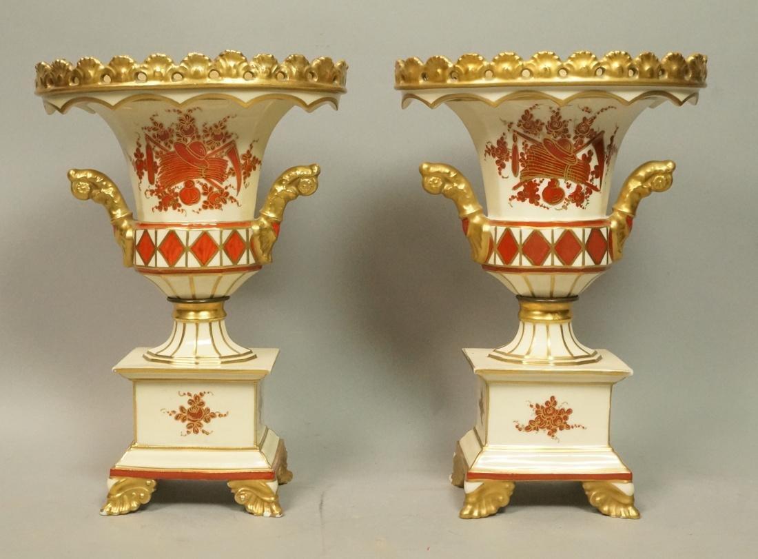 Pr French PITT PIETRI Porcelain Urns. Fancy decor