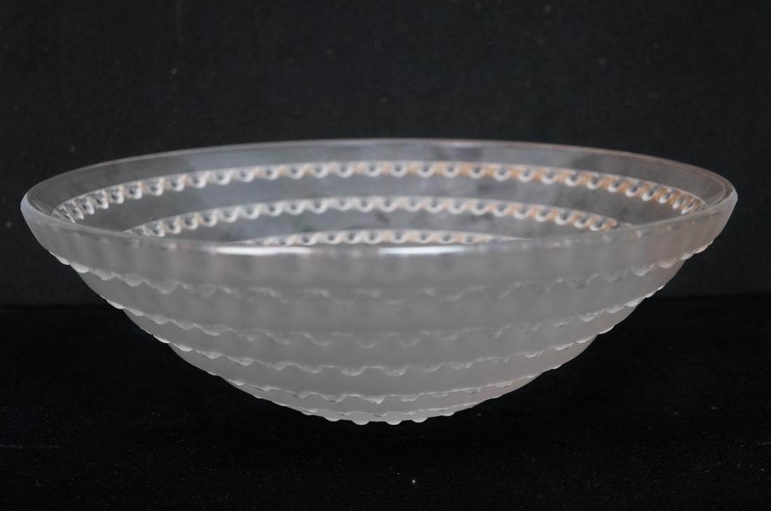 R. LALIQUE France Large Art Deco Bowl. Concentric