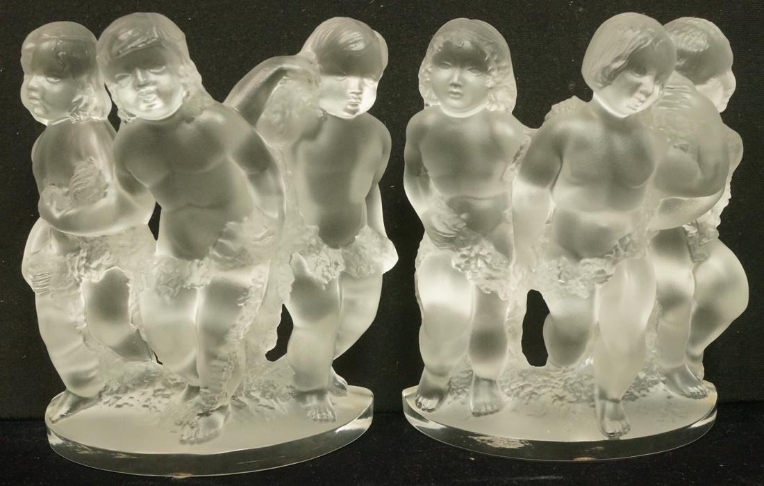 Pr LALIQUE France Crystal Luxembourg Putti Figure