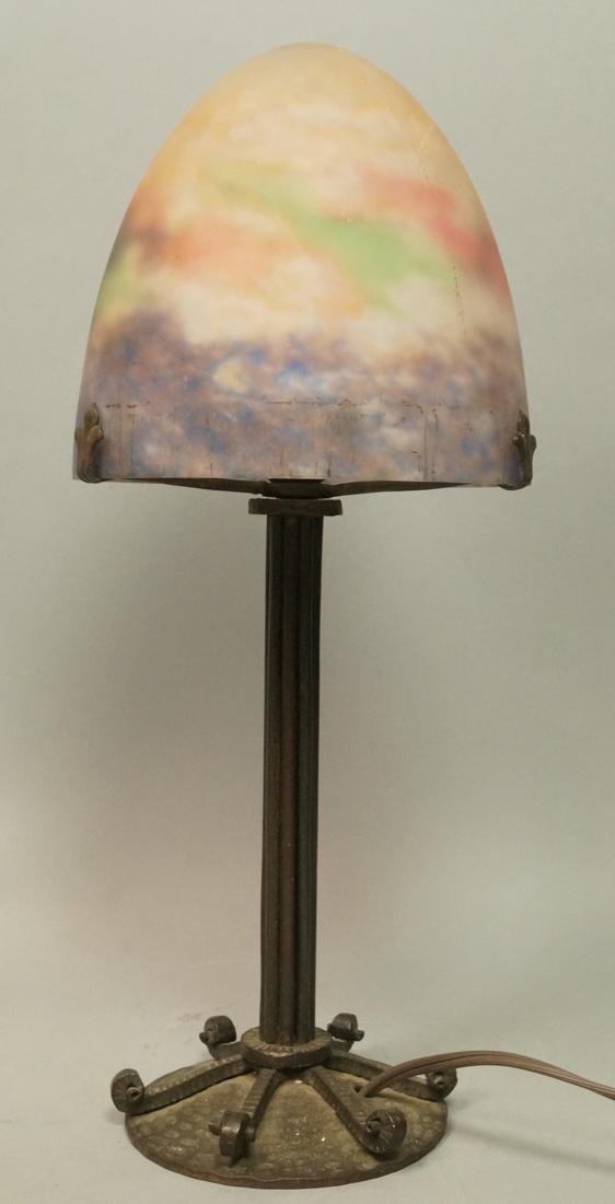 MULLER FRES LUNEVILLE Art Deco Glass Lamp. Mottle