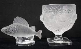 2pc French LALIQUE FRANCE Crystal Items. Figural