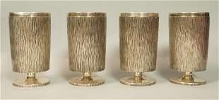 Set 4 GERALD BENNEY Sterling Silver Goblets. Bark 1970