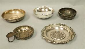 5pc Sterling  Silver Coin Small Dishes Wine Tast