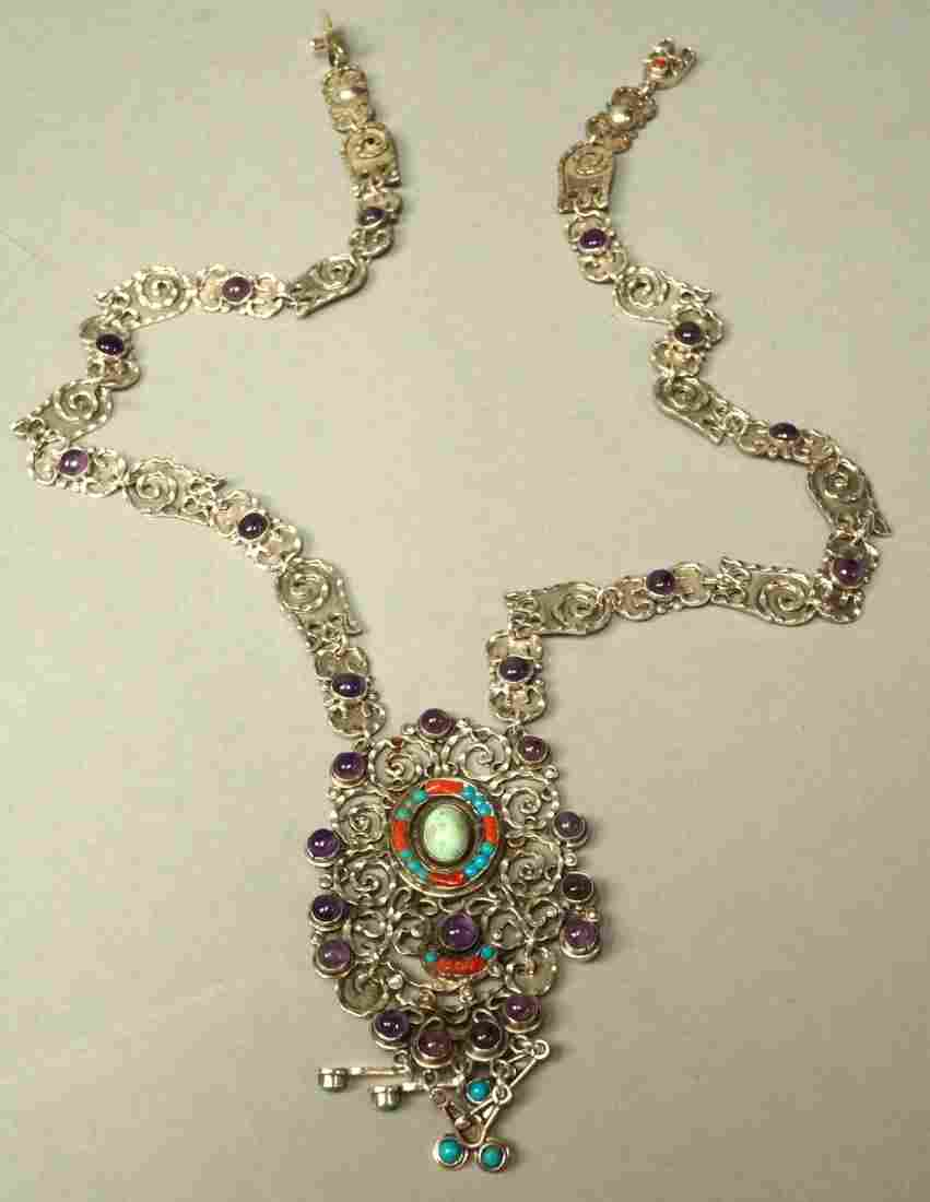 MORALES Sterling Silver  Mexican Gemstone Necklac