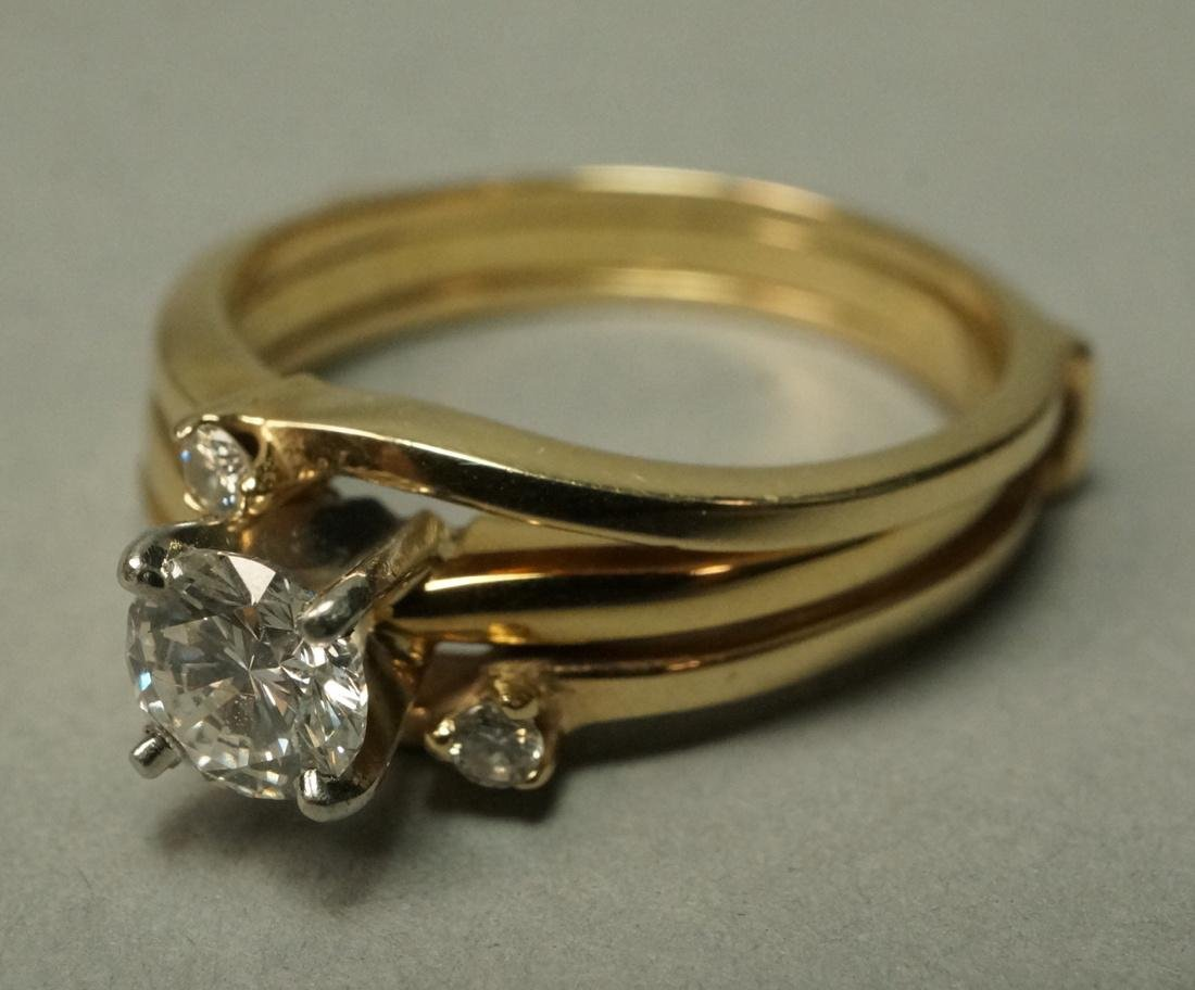 Ladies 18K Gold Diamond Engagement Ring. With 14K