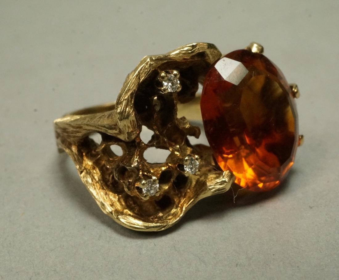 Modernist 14K Gold Custom Yellow Stone & Diamond