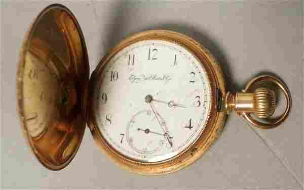 ELGIN 14K YG Gold Pocket Watch. Decorative engrav
