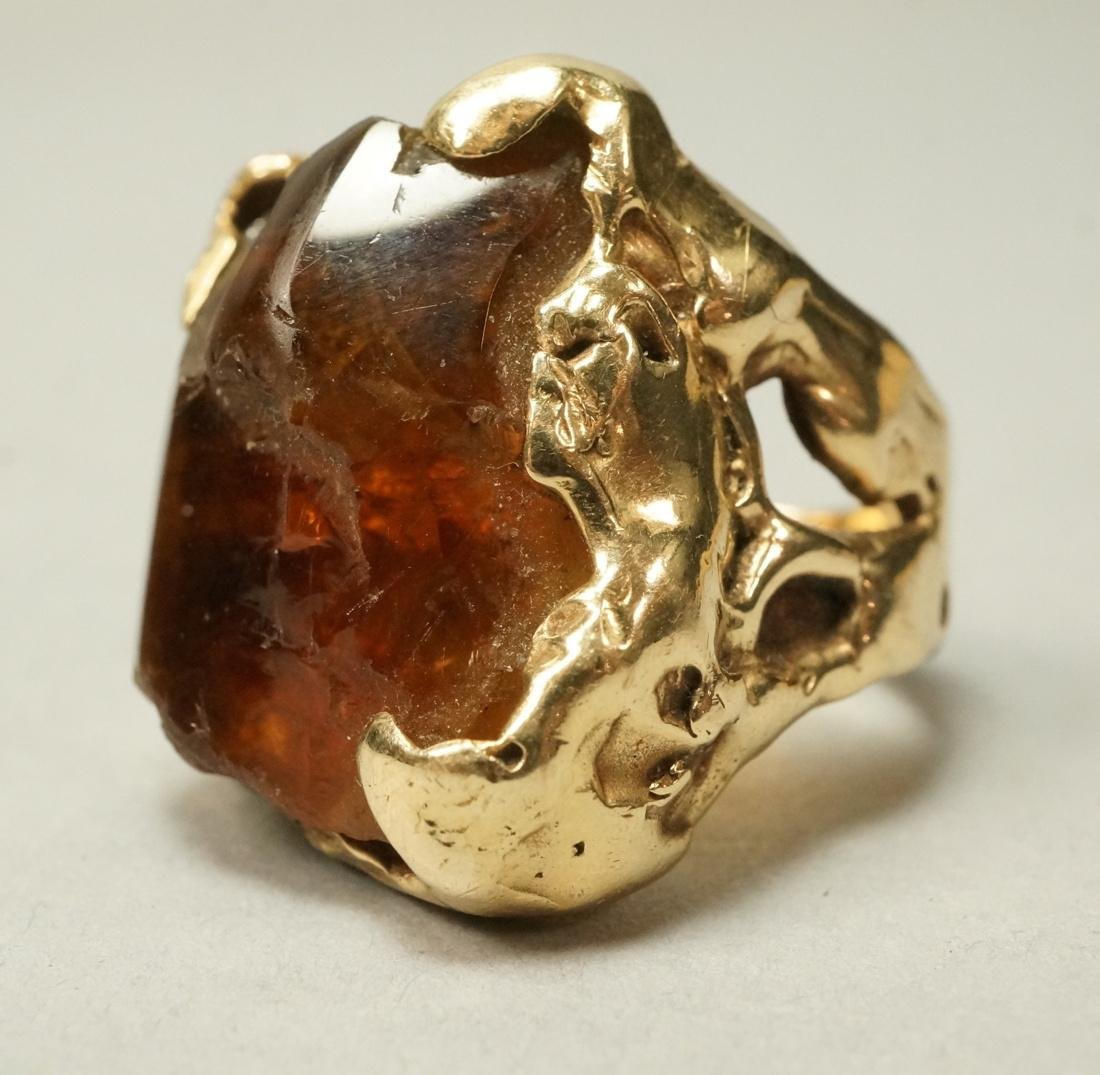 Heavy Brutalist 14K Gold Mens Ring. Raw Amber col