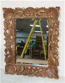 Wide Heavily Carved Wood Frame Wall Mirror Red p