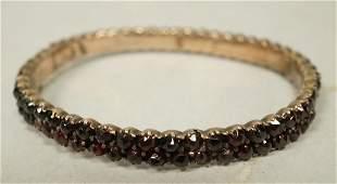 Victorian Garnet Bangle Bracelet  Double row