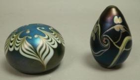 2pc American Art Glass Paperweight. 1) C. BUZZINI