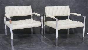 Pair Harvey Probber Lounge Chairs. White tufted