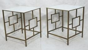 Pr Modernist Square Tube Side Tables Vitralite Gl