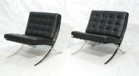 Pr KNOLL Black Leather Barcelona Chairs. Chrome Sabrina