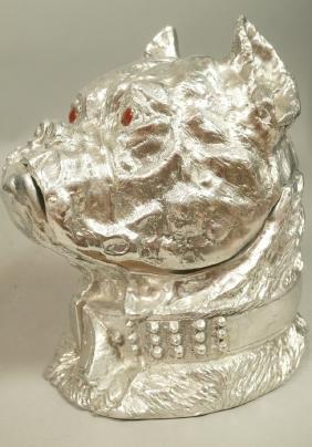ARTHUR COURT Pewter Bulldog Ice Bucket. 1979. Fig