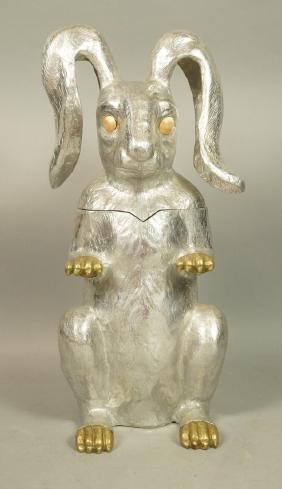 ARTHUR COURT Figural Pewter & Brass Rabbit Bunny.