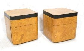 Pr THAYER COGGIN Burled Wood Art Deco Side Tables