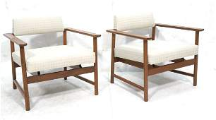 Pr HARVEY PROBBER Walnut Lounge Chairs. Thick wal
