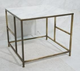 Square White Marble Top Metal Base Side Table. Sq