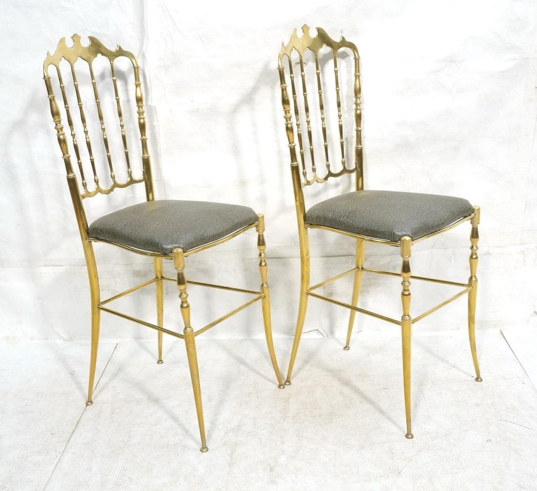 Pr Brass CHIAVARI Italian Spindle Back Chairs. Me