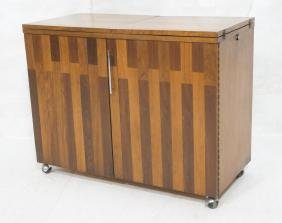 Walnut & Rosewood Flip Top Modern Bar Cabinet. Wa