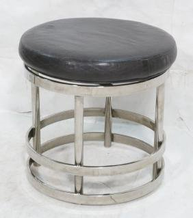 Contemporary Black Leather Swivel Stool. Wide chr