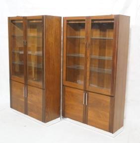 Pr Rosewood & Walnut Glass Door Display Cabinets.