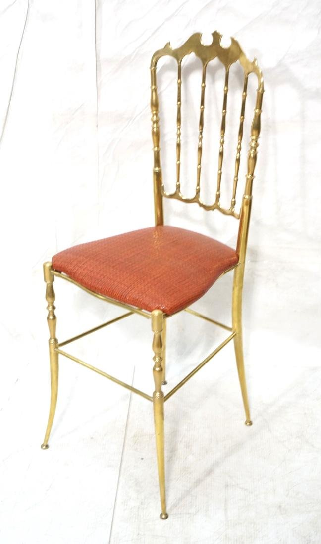 Brass CHIAVARI Spindle Back Chair. Woven leather