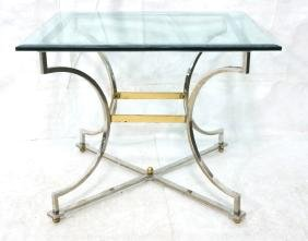 Bevel Glass Square Dining Table Chrome Frame with
