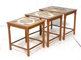 Set 3 Teak Nesting Tables. Modernist Tile Tops. O