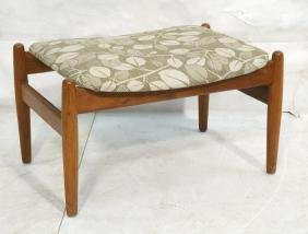 Danish Modern Teak Foot Stool Bench. Olive & Off