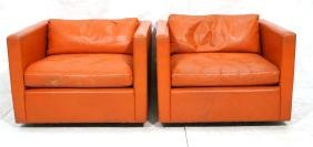 Pr KNOLL Red Orange Leather Cube Lounge Chairs. D