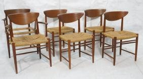 Set 6 PETER HVIDT Danish Teak Dining Chairs. Two Arms