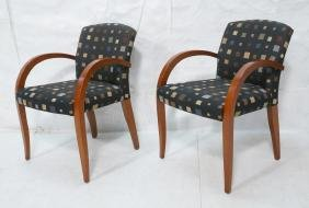 Pr Contemporary Wood Frame Side Arm Chairs. Black