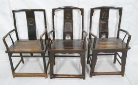 Lot 3 Carved Chinese Arm Chairs. HUANGHUALI. Chai