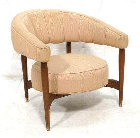 Moire Fabric Modernist Barrel Back Lounge Chair.