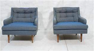 Pr MILO BAUGHMAN Blue Upholstered Lounge Chairs.