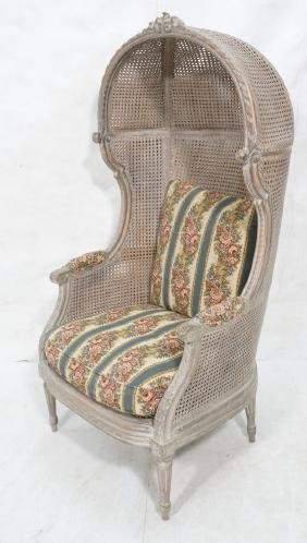 Vintage Carved Hooded Lounge Chair. Double caned