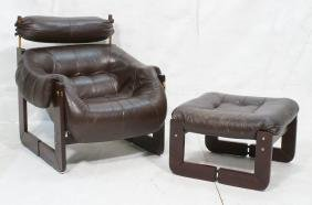 LAFER BRAZIL Brown Leather Lounge Chair & Ottoman