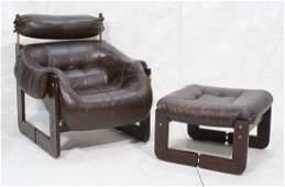 PERCIVAL LAFER BRAZIL Leather Lounge Chair & Ottoman
