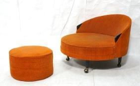 ADRIAN PEARSALL Circle Lounge Chair & Ottoman. Ro